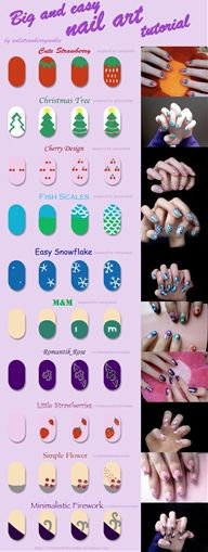 Big and easy nail art tutorial by *evilstrawberrycookie
