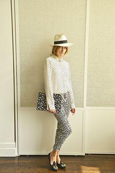 Olivia Palermo mixes prints and monochrome in Banana Republic Sloan pants.