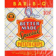 Vintage Bag of #BetterMade BBQ Potato Chips