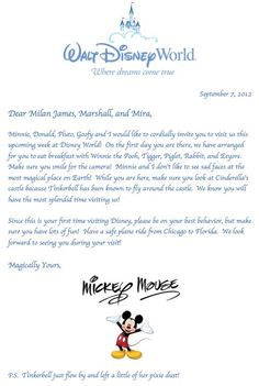 Letter from Mickey Mouse for the kids! Great idea to get them ready for their upcoming. How can I get one of these!!!!!!!!!!