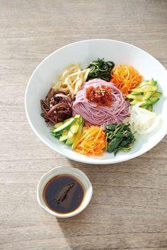 Bibim Guksu 나물 매실 비빔국수 (Mixed Somen noodles with various vegetables and soy sauce based seasoning sauce)