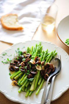 Asparagus with a Fried Kalamata Olive Salsa