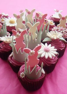 party desserts, easter cake, dessert ideas, pink cupcakes, easter cupcakes, easter bunny, healthy desserts, cake recipes, cupcake toppers