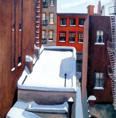 Snow on Cornelia Street by Alice Neel / book cover for The Outward Room by Millen Brand.