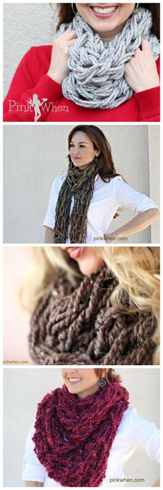 Lots of Arm Knitting Tutorials with Full Video Instruction.  Different scarves and blanket!