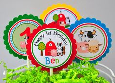 Barnyard  Cupcake Toppers   Set of 12 by thepaperkingdom on Etsy, $10.00
