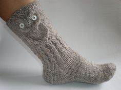 Hand-knitted grey/brown color women socks with owl pattern