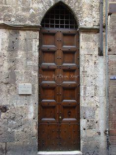 Florence Italy, Door, Entrance Way, Wood Door with Arch,