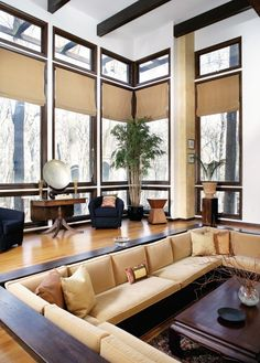 Sunken living room idea for our new White Rock Lake home to be built - Love the windows.