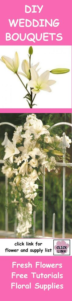 http://www.wedding-flowers-and-reception-ideas.com/crescent-bridal-bouquet.html - Easy tutorial for stunning cascades and other wedding flowers.  Buy professional floral supply products for your DIY wedding.