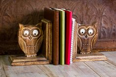 Hand Carved Wooden Owl Book Ends - Earthbound Trading Co.