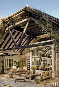 The rustic outdoor living area of Kelsey Grammer's Bel Air home.