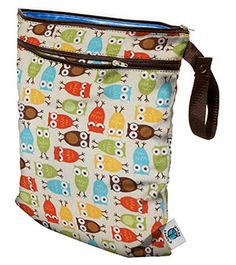 Planet Wise Wet/Dry Bag - Planet Bambini    I HAVE to have this wet bag.  What i love most about it - The fact that there is a dry pocket on the outside. I can store my extra pair of diapers (or at least out side and the wet ones on the inside.   Oh. love love love these owlie prints.  I already have a swaddlebee's cover like this! yes!
