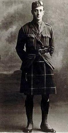 Capt. Basil Rathbone with the 2nd Battalion, Liverpool Scottish, World War I