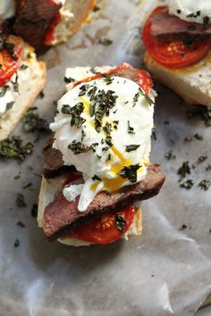 Steak and Egg Breakfast Bruschetta with Crispy Kale, Goat Cheese, and Roasted Tomatoes