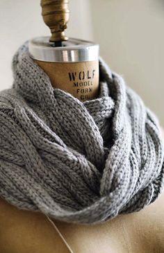 A soft grey wool neck