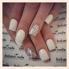 White With Sparkle Wedding Nails