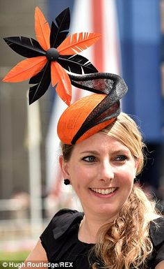 Looking good: A lady in a wonderful black and orange ensemble inspired by a sunflower