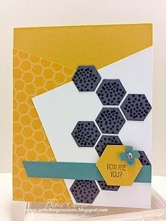 Stampin' Up!  ... handmade card from ARTfelt Impressions ... hexagon theme ... graphic look with sharp lines and color contrasts ... tilty paneles ... like the dark gray hexagon pattern and the  mustard designer paper with hexagons blending into the solid mustard cardstock base ... great card!
