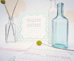 patterned polka dot wedding stationery