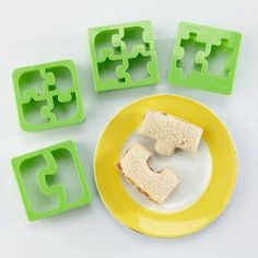 Turn an ordinary sandwich into an extraordinary one with these fun puzzle sandwich cutters. For more creative ideas for kids lunches visit https://www.facebook.com/SchoolLunchIdeas you may find something you 'LIKE'
