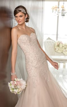 Elegant Essense of Australia drop waist wedding dress features a vine pattern in sparkling silver beading on Tulle. (Style D1604) Looks pink to me. wedding dressses, idea, blush weddings, essens, dream, gowns, dresses, australia d1604, bride