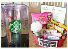 Diy gift idea. I really like the starbucks cup with the gift card, nail polish, and burts bees chapstick inside. cute idea.