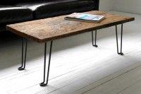Wood plank coffee table, hair pin legs.
