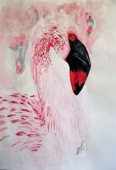 "Saatchi Art Artist Paula Steffensen; Painting, ""Flamingo I. SOLD"" #art"