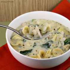 This creamy, hearty pesto chicken soup with spinach and artichoke hearts is loaded with flavor.