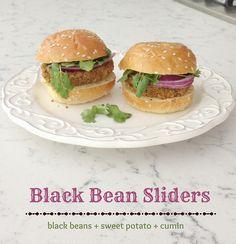 Black Bean Sliders with sweet potato via Meal Makeover Moms' Kitchen #vegetarian #beans