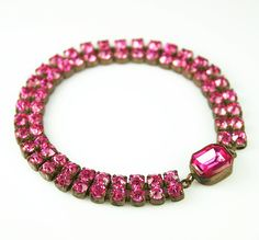 Art Deco Bracelet Czech Pink Rhinestone Antique Jewelry.