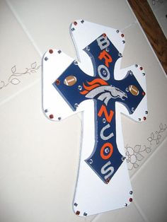 Wall Cross for the Denver Bronco Fan by cthorses66 on Etsy, $35.00