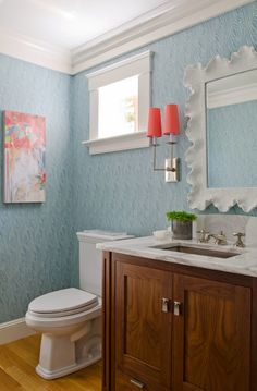 not to the wallpaper and wood tones; yes to blue + coral