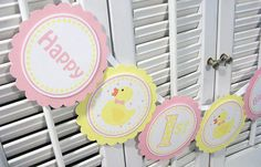 Ducky Banner  Little Rubber Ducky party banners, rubber ducki, floral babi, 1st birthday, duck parti, ducki babi, parti idea, parti banner, babi shower