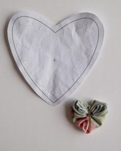 yo-yo's are basically gathered rosettes of fabric which can be made in different shapes dependant upon the starting shape of the piece of fabric. A heart shaped yo-yo begins with a heart shaped piece of fabric. Just like the circular yo-yo's these yo-yo's aren't difficult to make