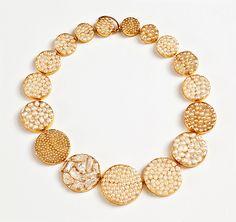 Dania Chelminsky Necklace: DecoPearls 4, 2013 Epoxy, pearls, 22k gold, gf 18 x 18 x 0.7 cm