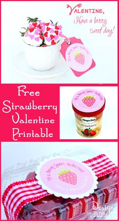 Free Strawberry Valentine Printable - Design Dazzle. ❤CQ #valentines #sweets #hearts #love