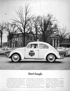 1966 Volkswagen Beetle Police Car original vintage advertisement. Photographed in black & white. Purchased by the town of Scottsboro, Alabama for Officer H.L. Willkerson to run parking meter patrol. Rare VW ad!