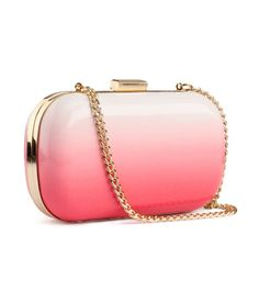 coral ombre + gold clutch ombre, fashion, ombr clutch, clutches, leather handbags, pink leather, ombr pink, dye ombr, dip dye