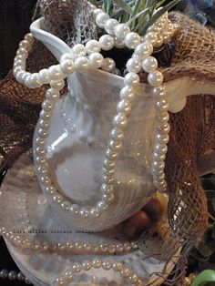 white w/pearls and burlap