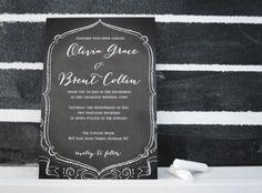 chalkboard wedding stationery  |  black and white