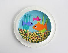 summer crafts, plate aquarium, activities for kids, craft idea, paper plate crafts