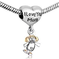 I Love Mom Dangle Doll Pandora Bead. Read more at http://www.bringontheblingblog.com/