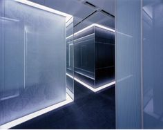 Calyon Japanese Office Interior by George Dasic Architects, lighting design and double glass walls _