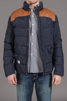 Tan/Navy Popper Jacket