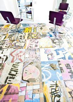 """Graffiti Porcelain Tile  18""""x18"""" Porcelain Tile interior design, art tiles, salon, floors, graffiti, street art, floor tile, bathroom tile, banksi"""