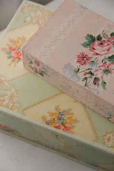 Vintage wallpaper on boxes