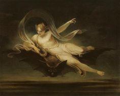 Henry Singleton, 'Ariel on a Bat's Back', exhibited 1819