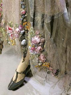 lace, ribbonwork, french fashion, dress, silk ribbon embroidery